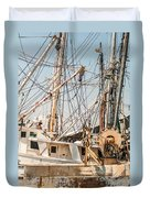 Fishing Boats In Harbour Duvet Cover