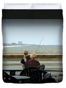 Fishing Buddies Duvet Cover by Kathy Barney