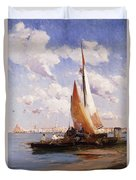 Fishing Craft With The Rivere Degli Schiavoni Venice Duvet Cover