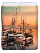 Fishing Fleet Sunset Boat Reflection At Fishermans Wharf Morro Bay California Duvet Cover