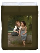 Fishing For Frogs Duvet Cover by William Bouguereau