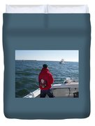 Fishing In Rough Seas Duvet Cover