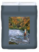 Fishing In The Fall Duvet Cover