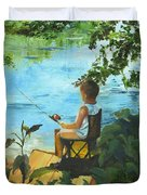 Fishing Off The Dock Duvet Cover