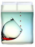 Fishing On A Glass Cup With Red Wine Droplets Little People On Food Duvet Cover