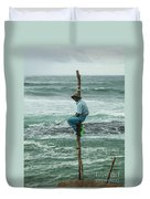 Fishing On A Pole Duvet Cover