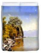 Fishing On Lac Leman Duvet Cover