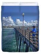 Fishing On Oceanside Pier Duvet Cover