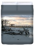 Fishing Pier And Driftwood Duvet Cover