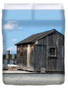 Fishing Shack On The Mystic River Duvet Cover