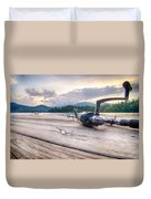Fishing Tackle On A Wooden Float With Mountain Background In Nc Duvet Cover