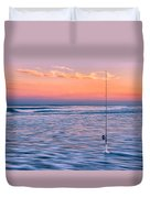 Fishing The Sunset Surf - Horizontal Version Duvet Cover