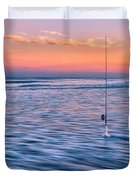 Fishing The Sunset Surf - Square Version Duvet Cover