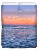 Fishing The Sunset Surf - Vertical Version Duvet Cover