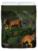 Fishing Tigers Duvet Cover