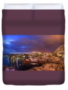 Fishing Village At Night, Lofoten Duvet Cover