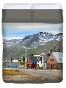 Fishing Village In Iceland Duvet Cover