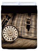 Fishing - Vintage Fly Fishing - Black And White Duvet Cover