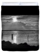 Fishing With Dad - Black And White - Merritt Island Duvet Cover