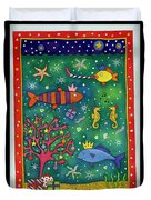 Fishy Christmas, 1997 Wc And Pastel On Paper Duvet Cover