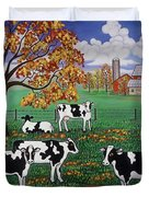 Five Black And White Cows Duvet Cover