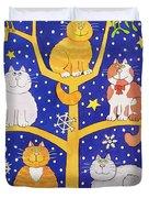 Five Christmas Cats Duvet Cover