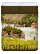 Five Finger Rapids Of Yukon River Yukon T Canada Duvet Cover