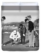 Five Golfers Looking At A Ball Duvet Cover