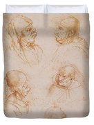 Five Studies Of Grotesque Faces Duvet Cover by Leonardo da Vinci