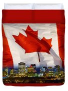 Flag Of Canada Over Albertas Capital Duvet Cover
