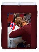 Flag Of Norway In Girls' Braided Hair Art Prints Duvet Cover