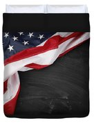 Flag On Blackboard Duvet Cover by Les Cunliffe