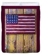 Flag On Old Yellow Door Duvet Cover