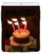 Flaming Birthday Cupcake Closeup Duvet Cover by Robert D  Brozek