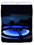 Flaming Blue Gas Stove Burner Duvet Cover