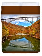 Flaming Fall Foliage At New River Gorge Duvet Cover