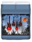 Flaming Guitars Duvet Cover