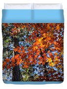 Flaming Maple Beneath The Pines Duvet Cover