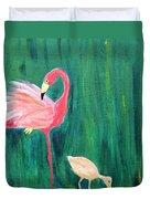 Flamingo And Chick Duvet Cover