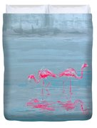 Flamingo Couple In Shallow Waters Duvet Cover