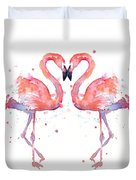 Flamingo Love Watercolor Duvet Cover