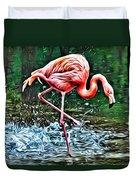 Flamingo Splash Two Duvet Cover