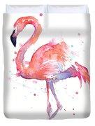 Flamingo Watercolor Duvet Cover