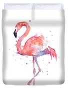 Flamingo Watercolor Duvet Cover