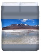Flamingos At The Altiplano In A Salt Lake Duvet Cover