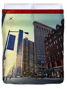 Flat Iron Building Poster Duvet Cover by Nishanth Gopinathan