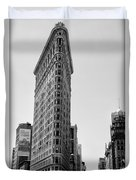 Flat Iron In Black And White Duvet Cover by Bill Cannon
