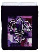 Fleur De Lis Purple Abstract Duvet Cover