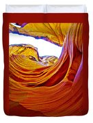 Flexibility Rock In Lower Antelope Canyon Near Page-arizona  Duvet Cover
