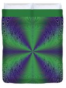 Flight Of Fancy Fractal In Green And Purple Duvet Cover